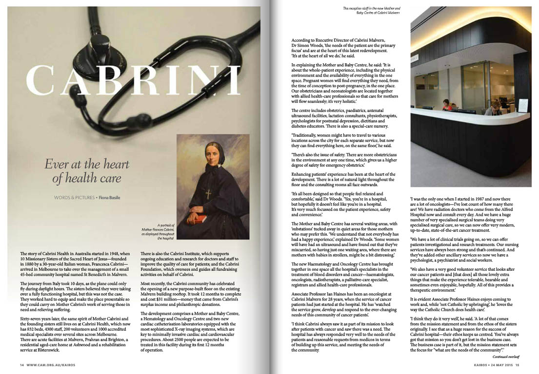 Kairos_2015_Issue9_Cabrini Health