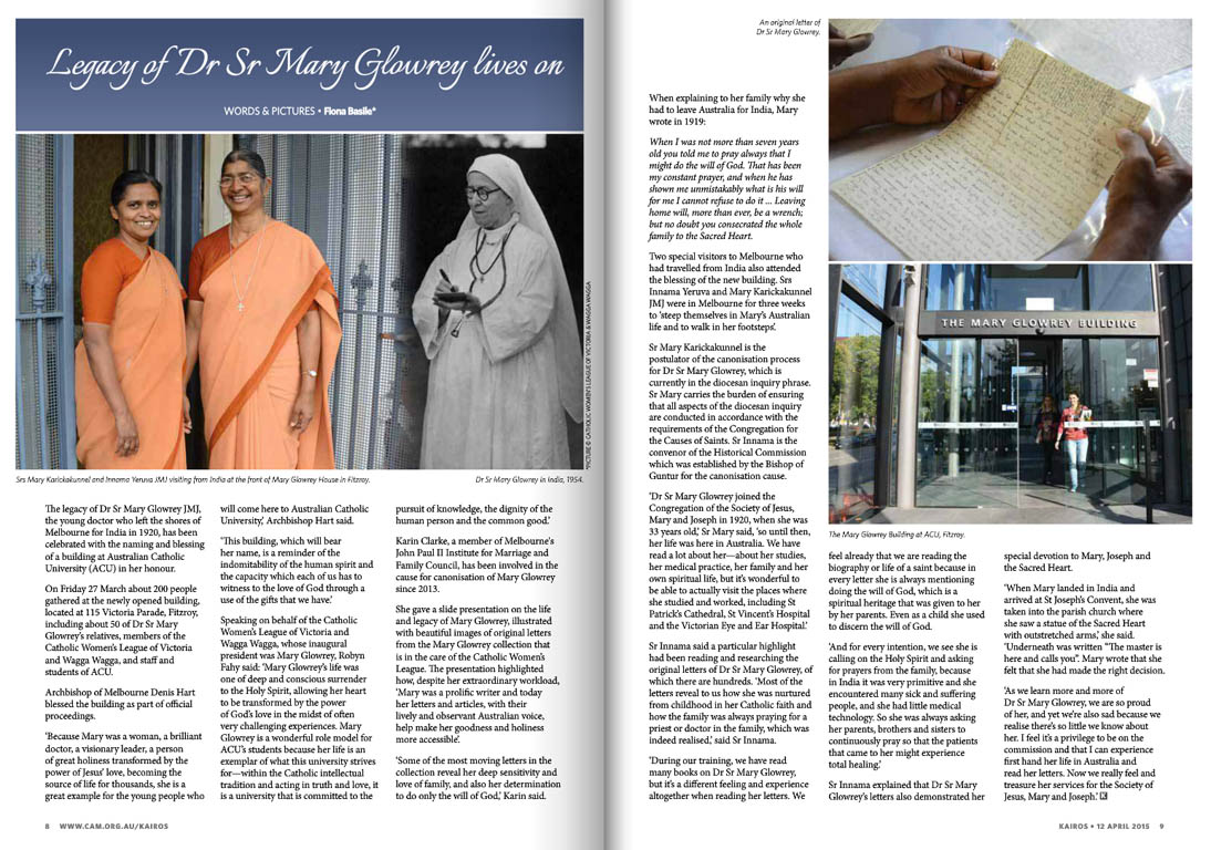Kairos_2015_Issue6_Sr Dr Mary Glowrey legacy