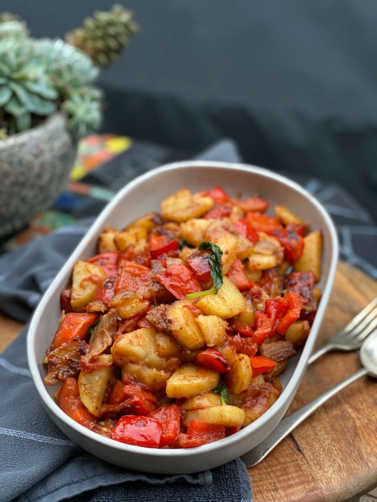 Dish with fried peppers and potatoes